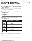 How Does The Amount Of A Chemical Affect Algae Growth Biology Worksheet