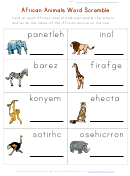African Animals Word Scramble Worksheet