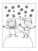 Happy Kids On Valentine's Day Coloring Sheet