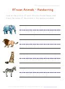 African Animals Handwriting Worksheet