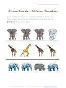 African Animals - Different Worksheet