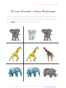African Animals - Same Worksheet