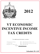 Schedule In-119 - Vt Economic Incentive Income Tax Credits - 2012