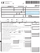 Form 1x - Amended Return Wisconsin Income Tax - 2012