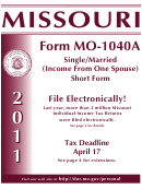 Form Mo-1040a - Booklet Missouri Single/married (income From One Spouse) Short Form - 2011