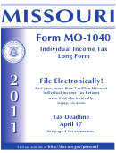 Form Mo-1040 - Booklet Missouri Individual Income Tax Long Form - 2011