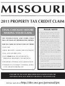 Form Mo-ptc - Missouri Book Property Tax Credit Claim - 2011