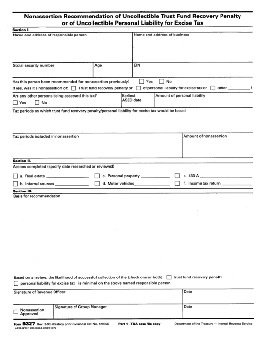Form 9327 - Nonassertion Recommendation Of Uncollectible Trust Fund Recovery Penalty Or Of Uncollectible Personal Liability For Excise Tax Printable pdf