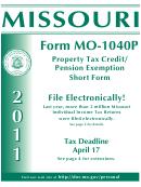 Form Mo-1040p - Booklet Missouri Property Tax Credit/ Pension Exemption Short Form - 2011