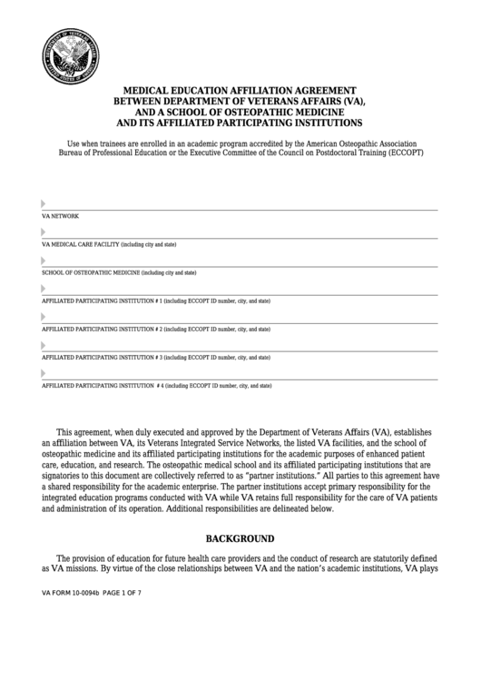Fillable Va Form 10-0094b - Medical Education Affiliation Agreement Between Department Of Veterans Affairs (Va), And A School Of Osteopathic Medicine Printable pdf