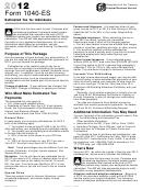 Form 1040-es - Estimated Tax For Individuals - 2012