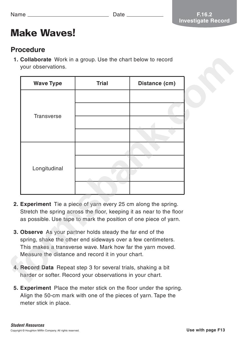 Make Waves Physics Worksheet printable pdf download