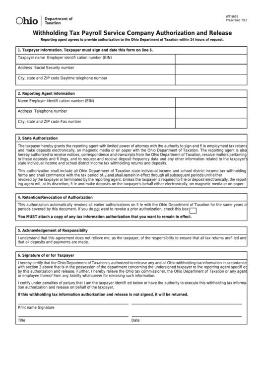 Fillable Form Wt 8655 - Withholding Tax Payroll Service Company Authorization And Release Printable pdf