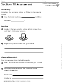 Section 10 Chemical Reactions Assessment Chemistry Worksheet
