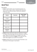 Acid Test Chemistry Worksheet