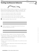 Testing Earthworm Behavior Activity Sheet