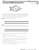Activity Sheet - Testing Goldfish Respiration