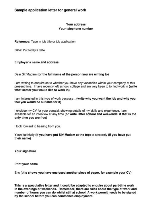 Sample Application Letter For General Work