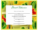 Certificate Of Great Behavior Template - Green And Yellow