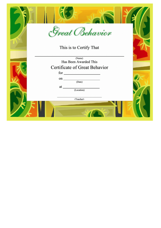 Certificate Of Great Behavior Template - Green And Yellow Printable pdf