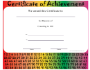 Mastery Of Counting To 100 Certificate