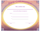 First Holy Communion Certificate Template - Lilac