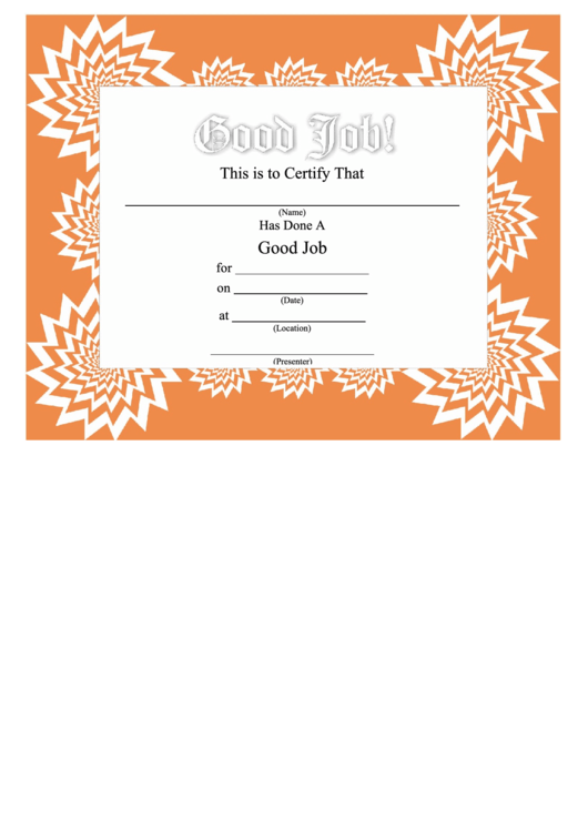 Good Job Certificate Printable Pdf Download