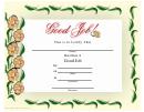 Good Job Flowers Border Certificate
