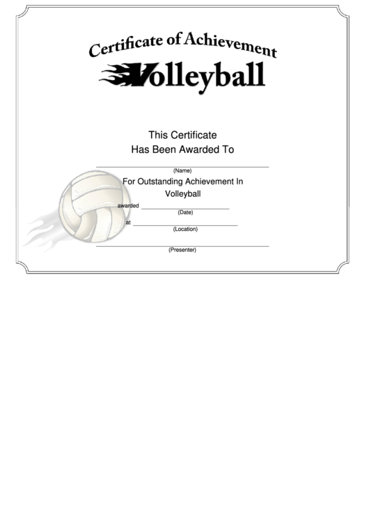 Volleyball Certificate Of Achievement