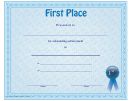 First Place Certificate Template