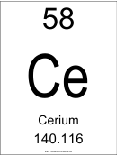 58 Ce Chemical Element Poster Template - Cerium