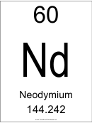 60 Nd Chemical Element Poster Template - Neodymium