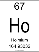 67 Ho Chemical Element Poster Template - Holmium