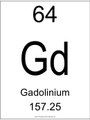 64 Gd Chemical Element Poster Template - Gadolinium