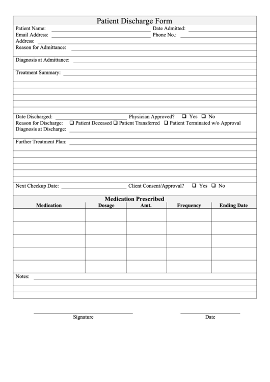 top hospital discharge form templates free to download in