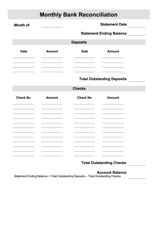 Monthly Bank Reconciliation Printable Pdf Download