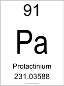 91 Pa Chemical Element Poster Template - Protactinium