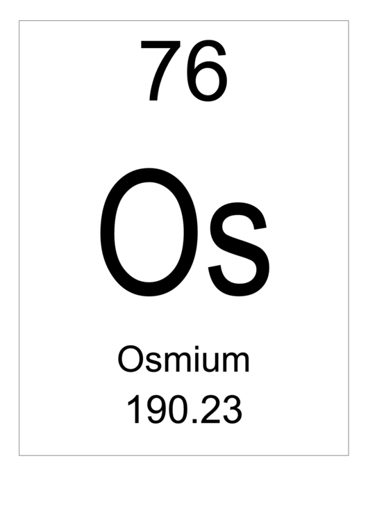 76 Os Chemical Element Poster Template - Osmium Printable pdf