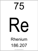 75 Re Chemical Element Poster Template - Rhenium