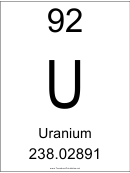 92 U Chemical Element Poster Template - Uranium