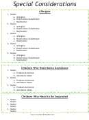 Special Considerations Sheet For Children