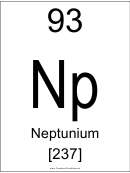 93 Np Chemical Element Poster Template - Neptunium