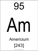 95 Am Chemical Element Poster Template - Americium