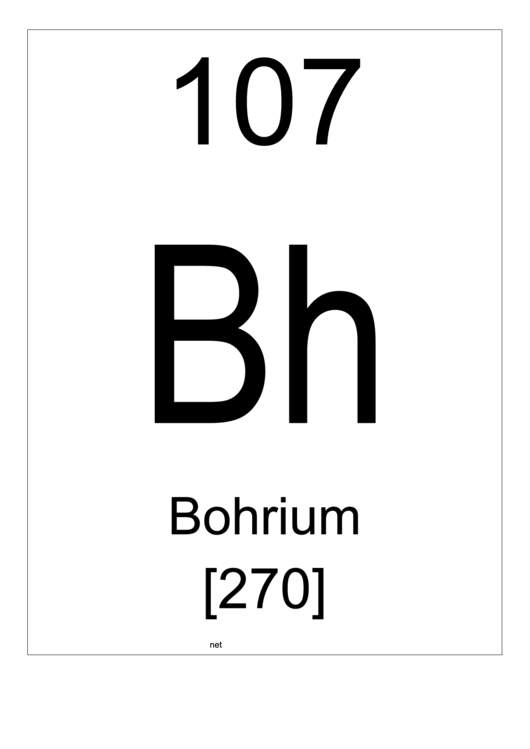 107 Bh Chemical Element Poster Template - Bohrium Printable pdf