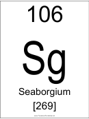 106 Sq Chemical Element Poster Template - Seaborgium