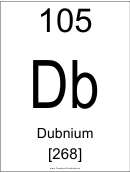 105 Db Chemical Element Poster Template - Dubnium