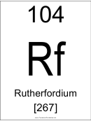 104 Rf Chemical Element Poster Template - Rutherfordium