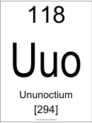 118 Uuo Chemical Element Poster Template - Ununoctium