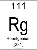 111 Rq Chemical Element Poster Template - Roentgenium