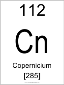 112 Cn Chemical Element Poster Template - Copernicium